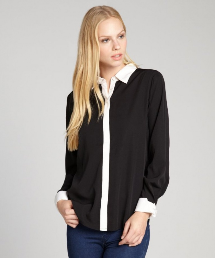 284-RD-Style-women-s-black-and-white-contrast-trim-button-front-blouse-1