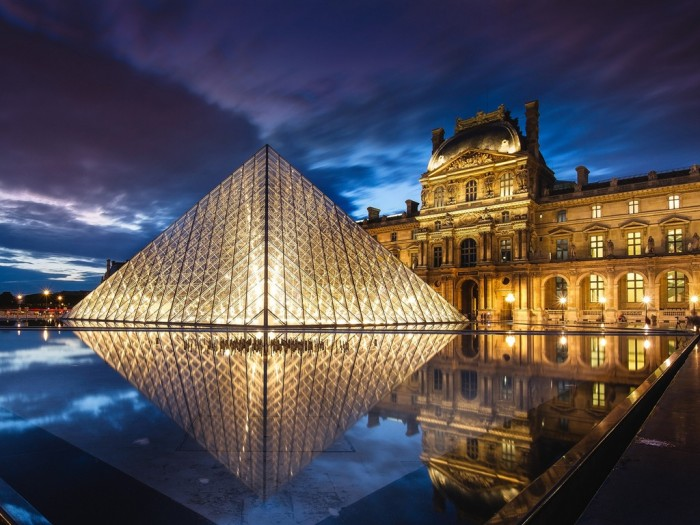 France, Paris, Louvre Museum, architecture, pyramid, night, water, lights wallpaper 1024x768