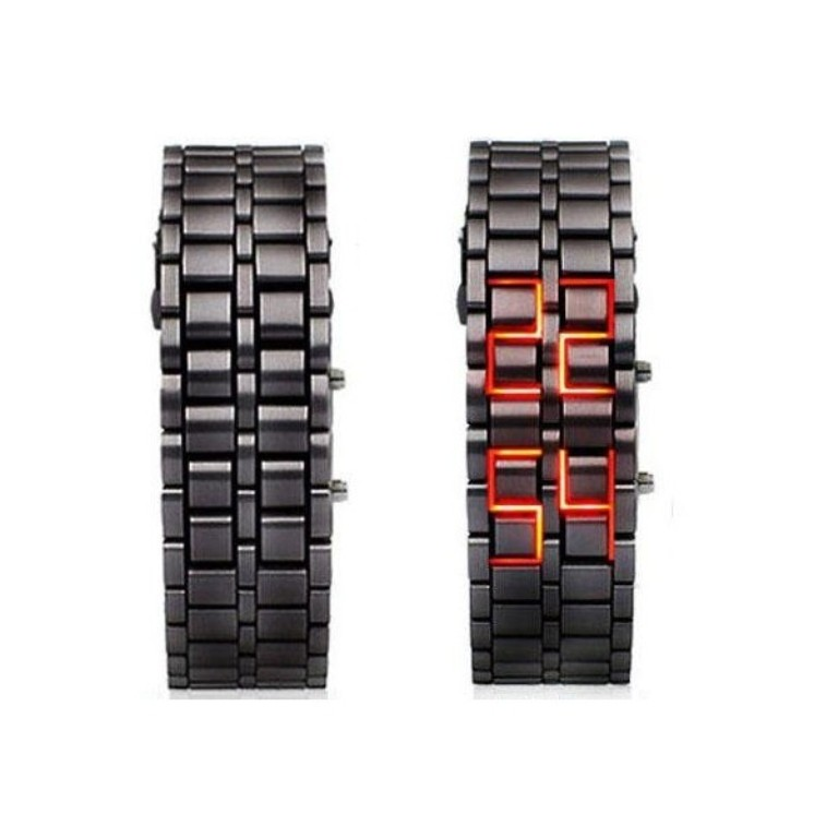 mens-black-metal-band-iron-lava-samurai-style-wrist-watch-faceless-japanese-inspired-red-led-bkrd-