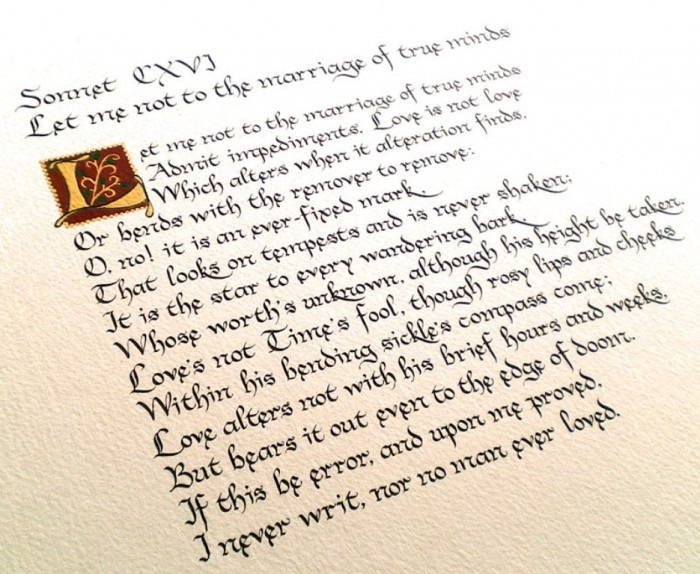 sonnet 116 Sonnet 116, shakespeare talks about love, which can be one of the most difficult  and confusing parts of life in it, he identifies what love is, and what it is not.