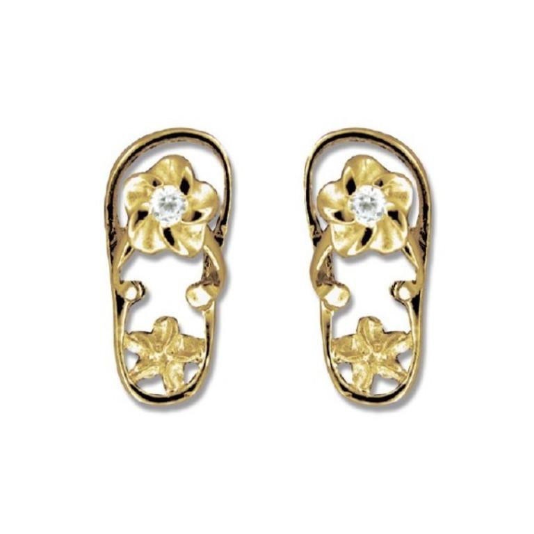 14kt-gold-cz-plumeria-slipper-pierced-earrings
