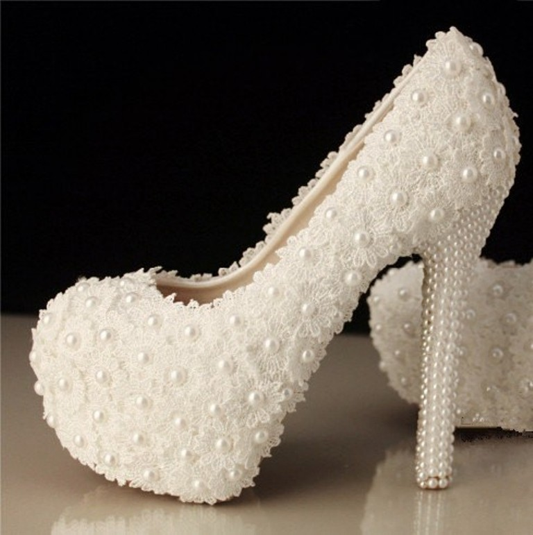 2014 Handmade Ivory Lace Wedding Shoes White Pearl Leather High Heels
