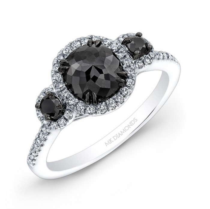 3 stone black diamond engagement rings #11
