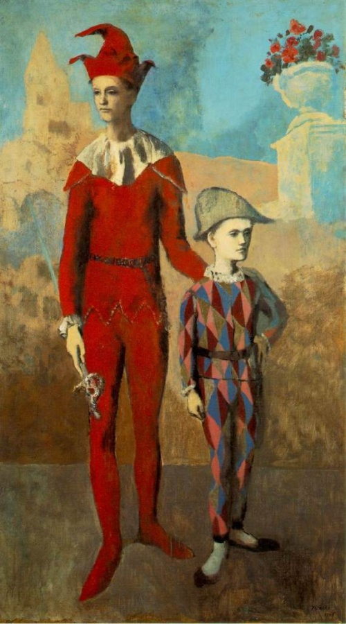 Acrobate et jeune arlequin