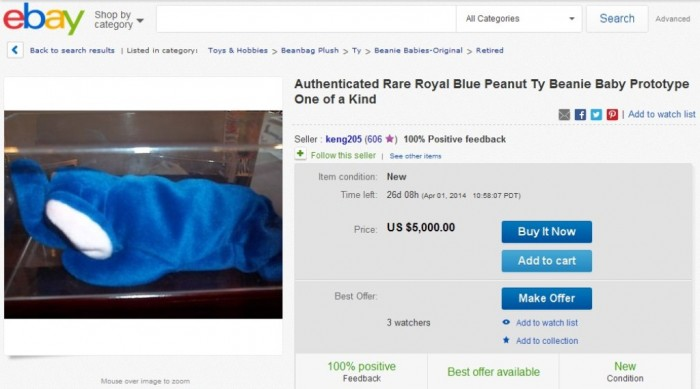 Authenticated Rare Royal Blue Peanut Ty Beanie Baby Prototype One of a Kind