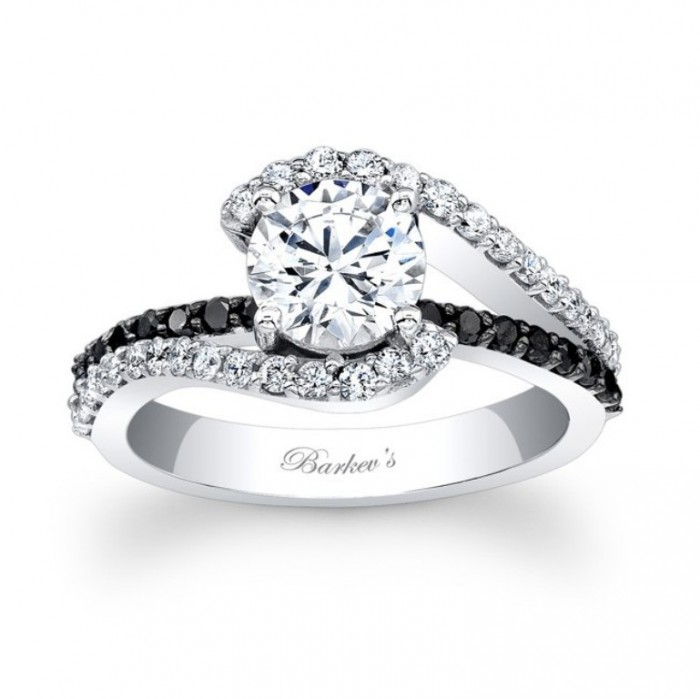 Barkevs Black Diamond Engagement Ring 7848LBKW
