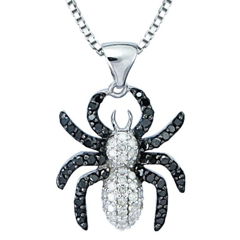Black-White-Diamond-Spider-Pendant-Necklace