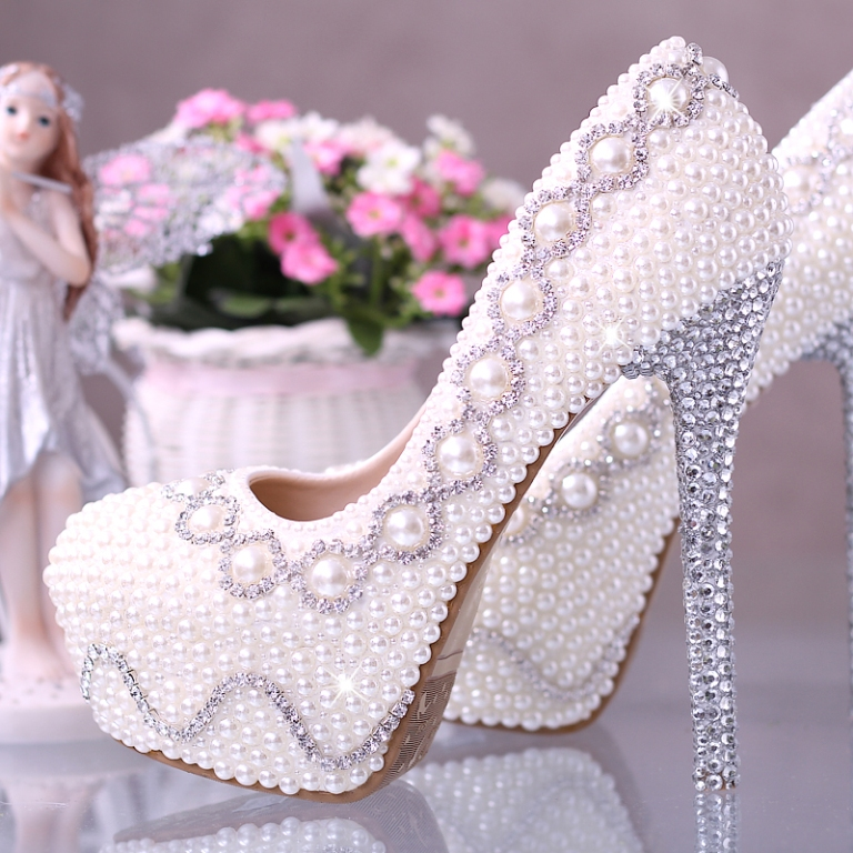 DF-2014-Genuine-Leather-Luxury-Pearl-rhinestone-bridal-shoes-white-ultra-high-heels-wedding-shoes