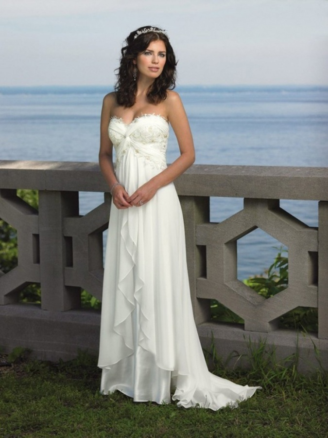 Empire Sweetheart SweepBrush Train Applique Chiffon Beach Wedding Dresses