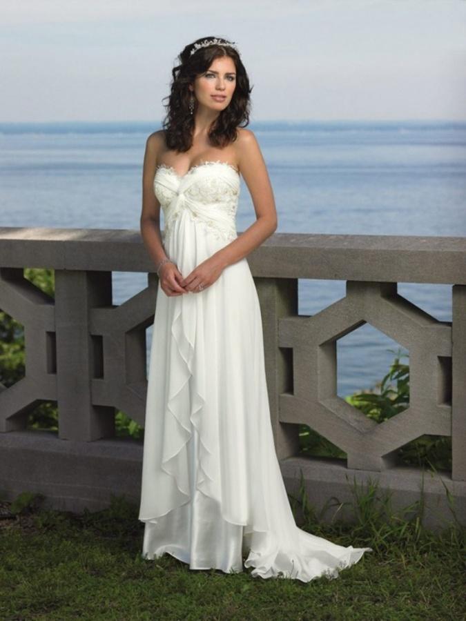 Empire Sweetheart SweepBrush Train Applique Chiffon Beach Wedding Dresses