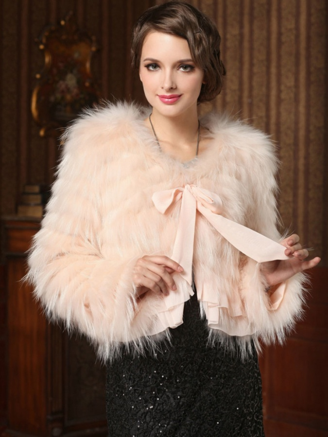 Fantastic-Raccoon-Hair-Short-Women-Fur-Coat-with-Bow-Tie-Sash-FUR0022