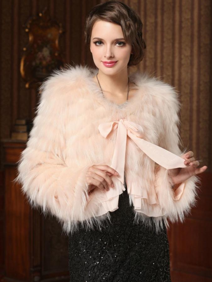 Fantastic-Raccoon-Hair-Short-Women-Fur-Coat-with-Bow-Tie-Sash-FUR0022