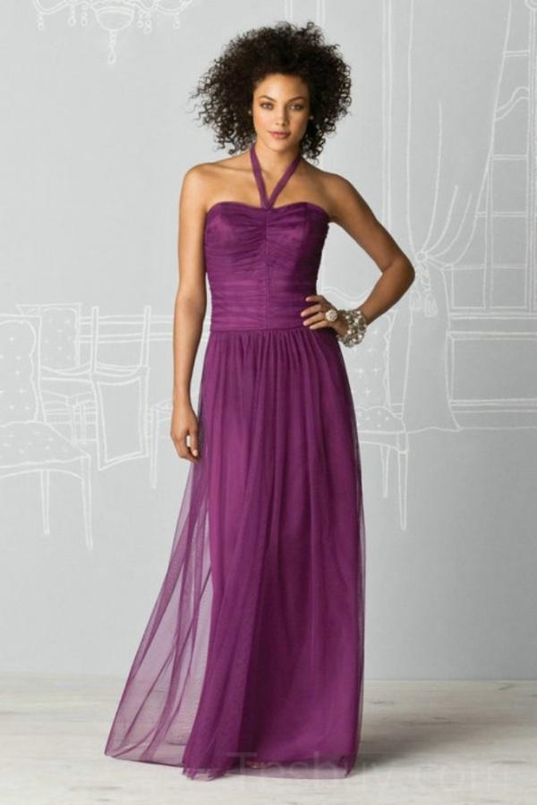 Halter Chiffon Floor Length Cheap Bridesmaid Dress 2012