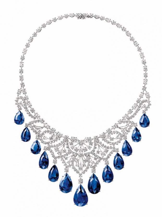 Harry Winston biennale-harry-winston-sapphire_and_diamond_cascading_drop_necklace
