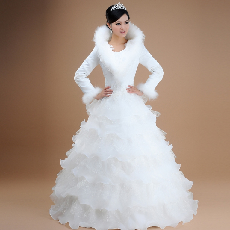 Love-winter-wedding-dress-winter-2012-wedding-bride-winter-wedding-dress-free-shipping-HS03