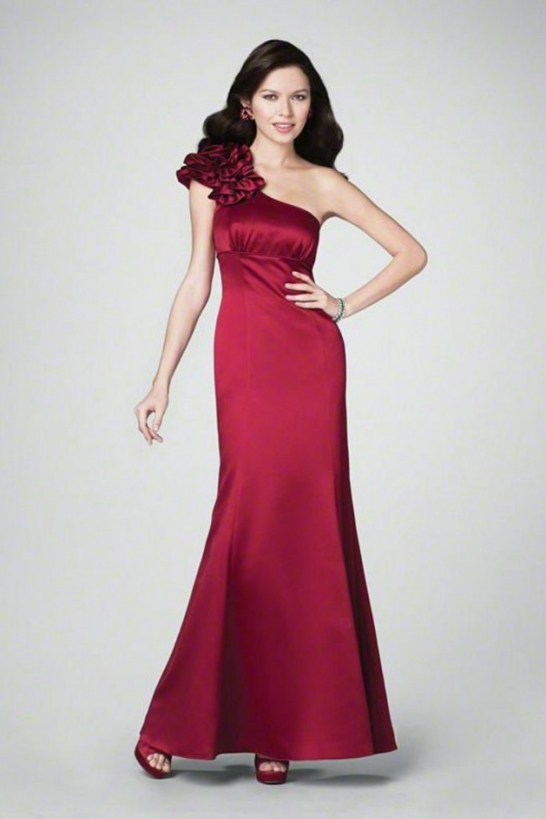 One Shoulder Ruched Elegant Long Red Cheap Bridesmaid Dresses
