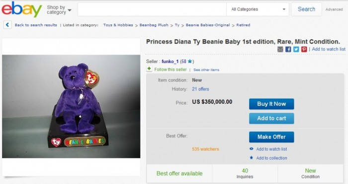 Princess Diana Ty Beanie Baby 1st edition, Rare, Mint Condition.
