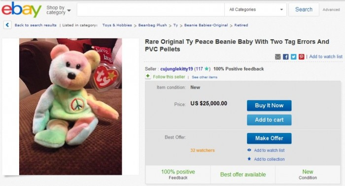 Rare Original Ty Peace Beanie Baby With Two Tag Errors And PVC Pellets