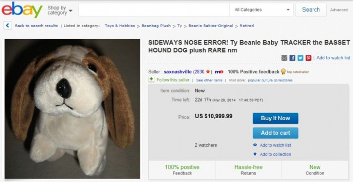 SIDEWAYS NOSE ERROR! Ty Beanie Baby TRACKER the BASSET HOUND DOG plush RARE nm