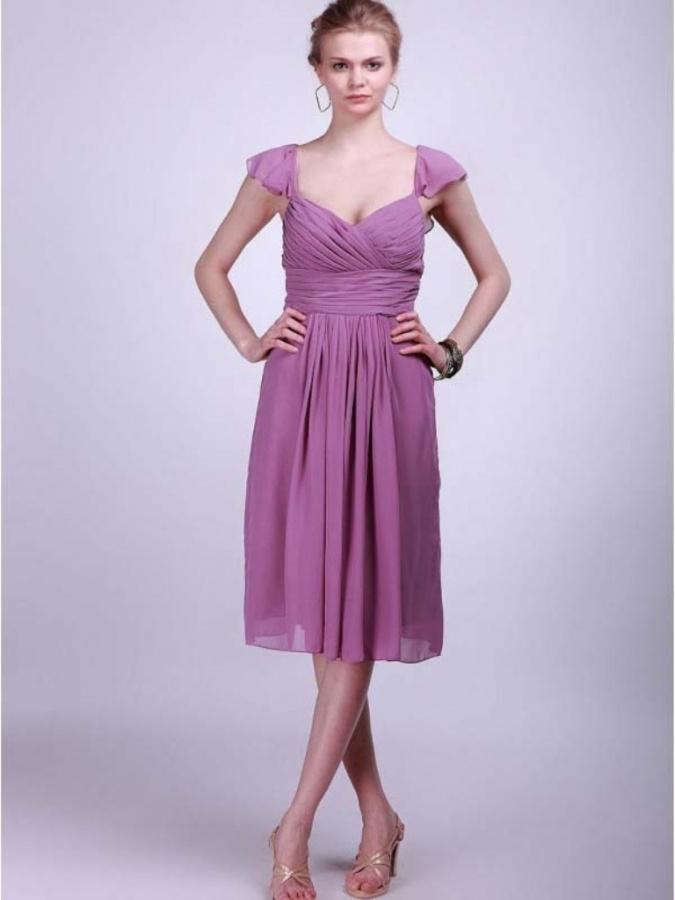 Sleeveless Square Chiffon SheathColumn Bridesmaid Dress