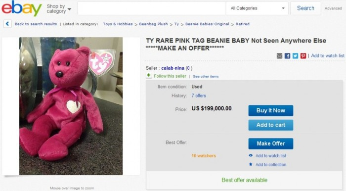 TY RARE PINK TAG BEANIE BABY Not Seen Anywhere Else