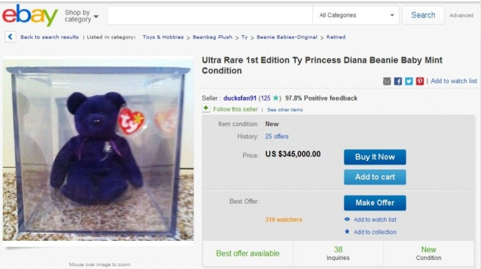 Ultra Rare 1st Edition Ty Princess Diana Beanie Baby Mint Condition