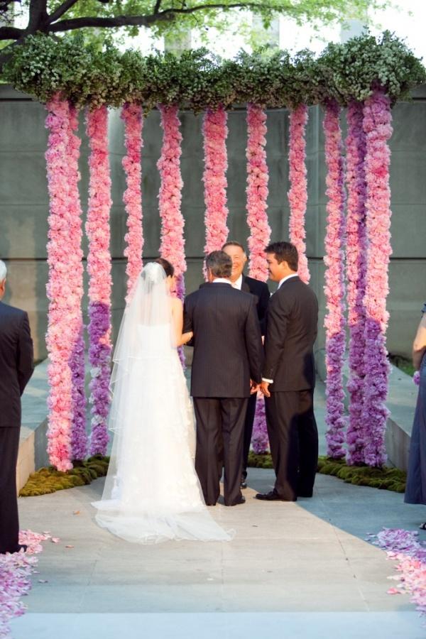 altar_pink_flower_column_garland_hanging_backdrop_artistic