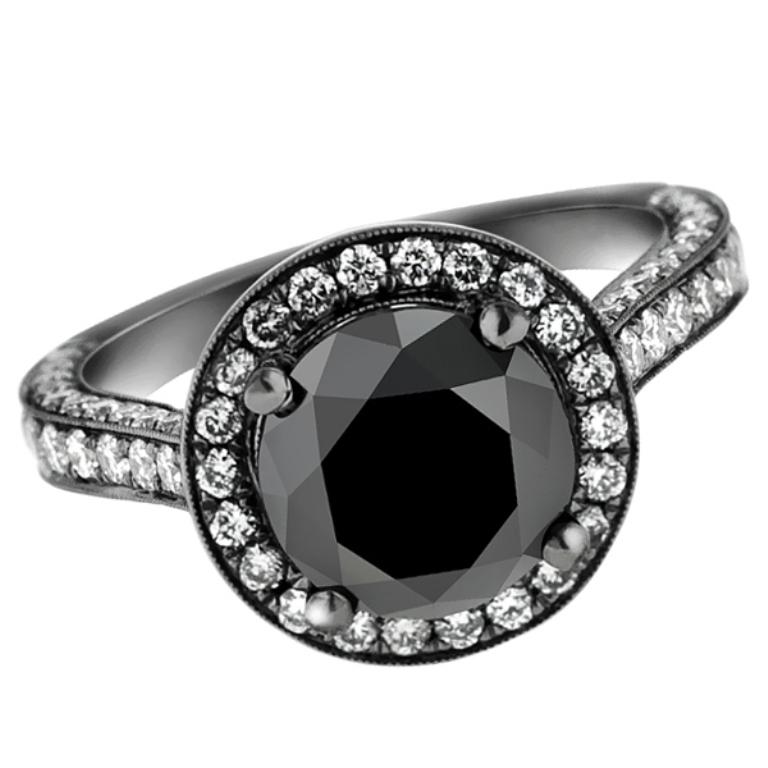 black-gold-black-diamond-engagement-ring