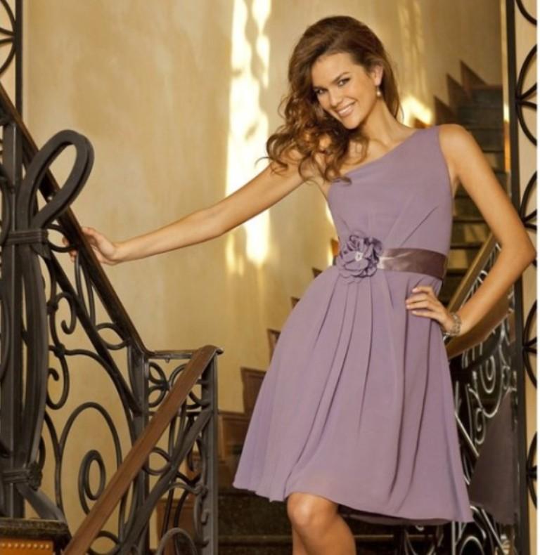cheap-casual-short-lavender-chiffon-bridesmaid-dresses-with-sash