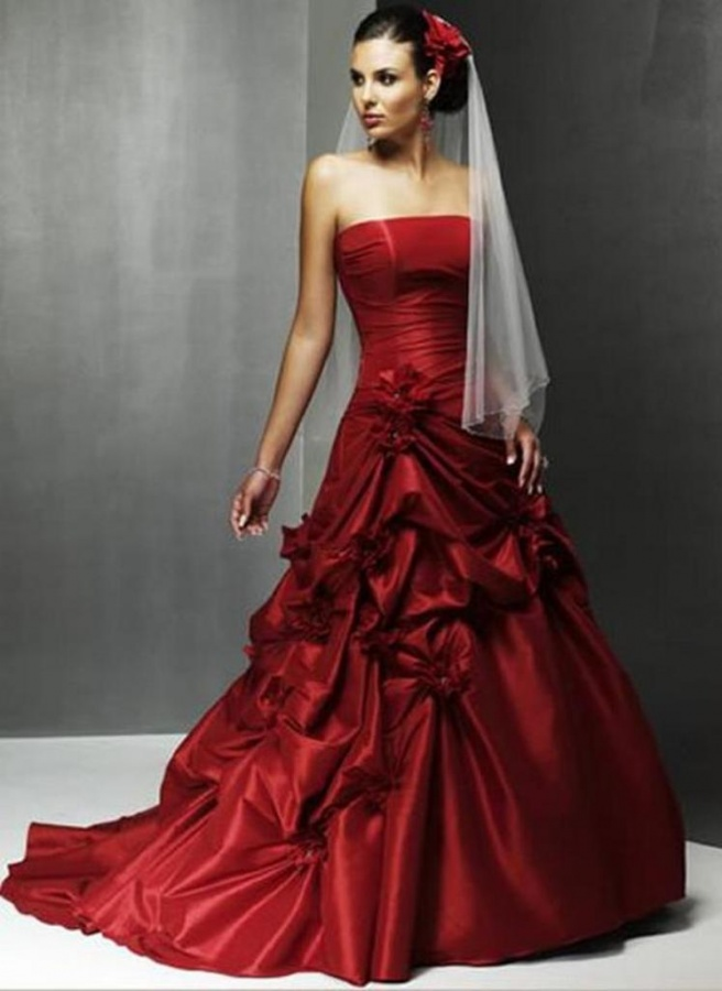 elegant red wedding gowns