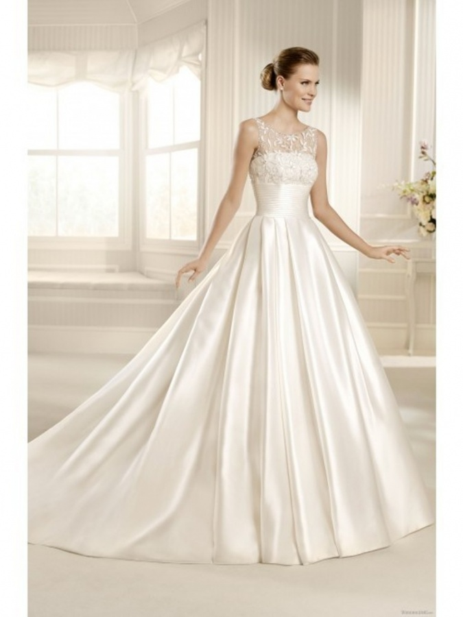 elegant_a_line_scoop_chapel_train_satin_wedding_dress