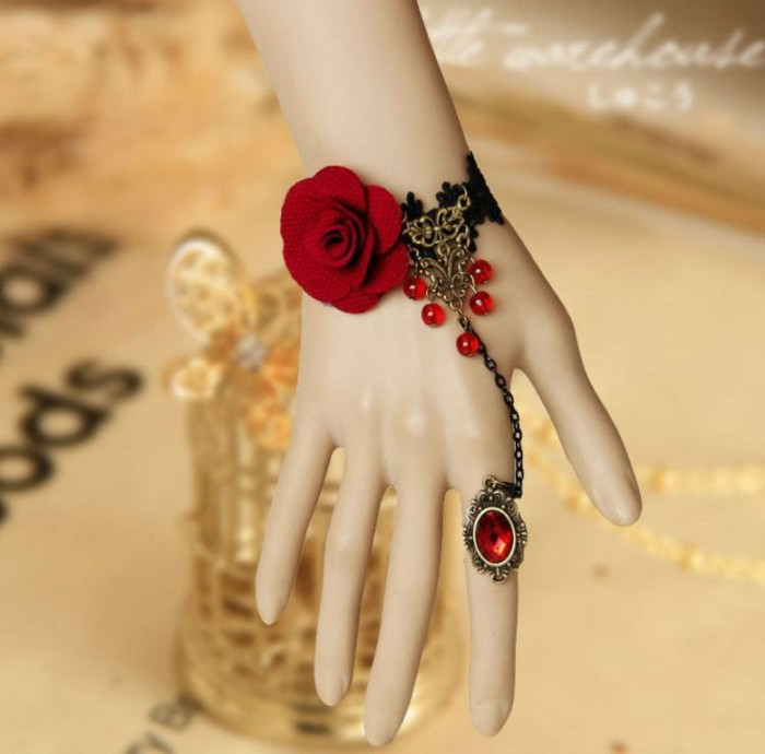 free-shipping-lolita-jewelry-fairy-vintage-black-lace-bracelets-rose-ring-for-women