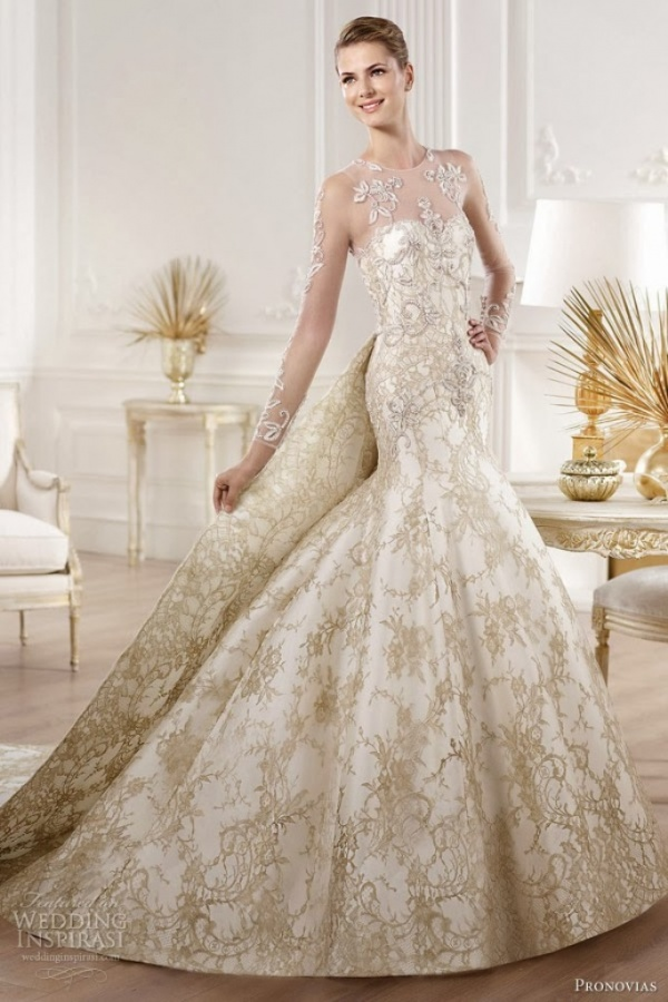 Top 10 gold wedding dresses pronovias 2014 atelier bridal collection yolima gold lace junglespirit Gallery