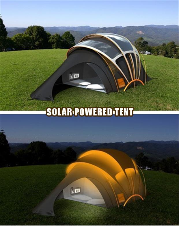 Solar powered tents to solve the problem of light while camping
