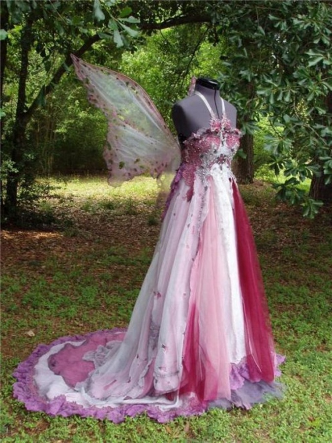wedding dress with fairy wings