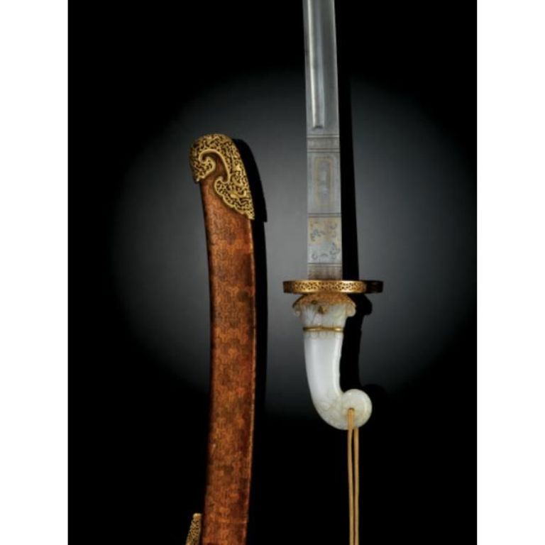 18th century Chinese jade-hilted sword .