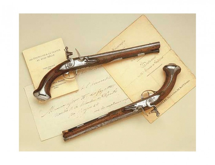 Pair of steel-mounted saddle pistols owned by George Washington