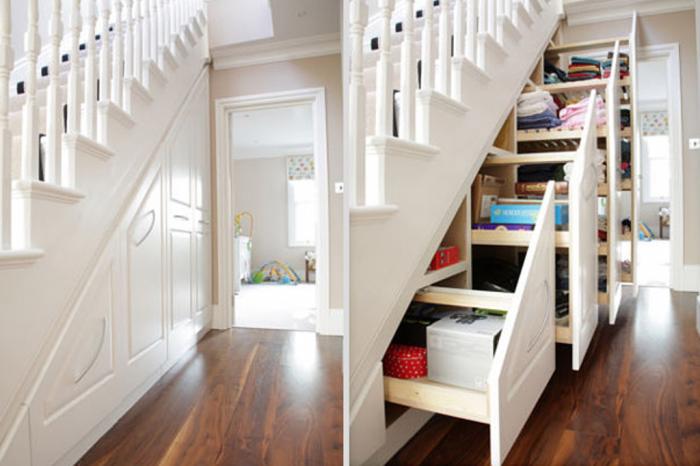 Hidden storage area under stairs