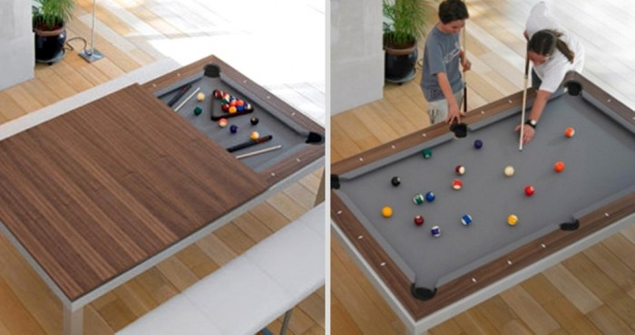 Dining table that can be converted to a billiard table