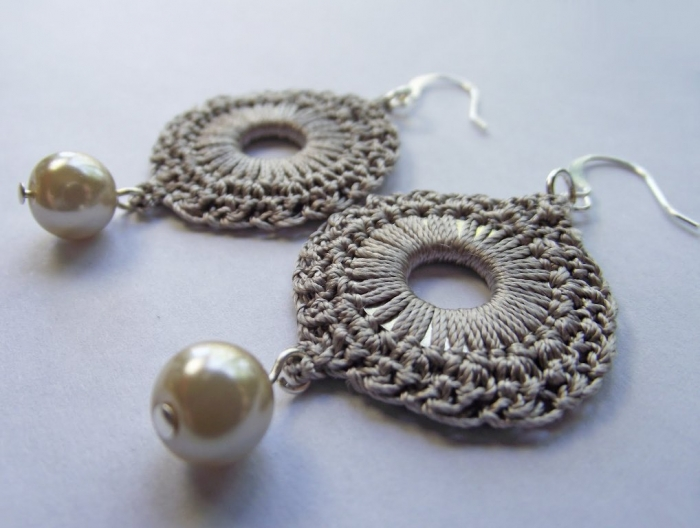 Tan Silk Crocheted Pearl Earring Rounds 5
