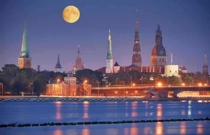 Riga, Latvia Quay-of-Daugava-river-in-Riga-Latvia