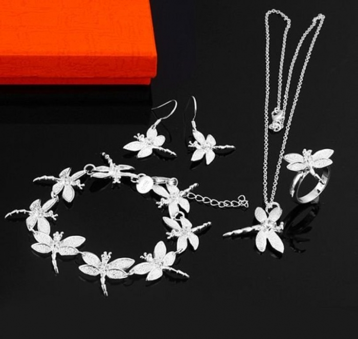 fashion-925-silver-jewelry-set-font-b-dragonfly-b-font-style-bracelet-ring-necklace-earrings-font