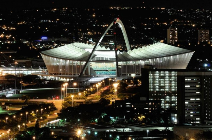 Durban, South Africa Moses-Mabhida-By-Night,-Durban,-South-Africa
