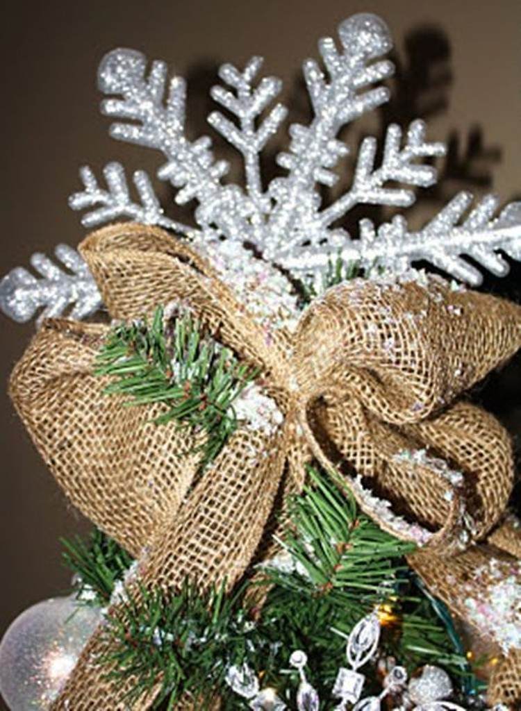 2013 christmas tree topper burlap christmas tree topper for 2013 snowflake christmas tree ornaments-f66539