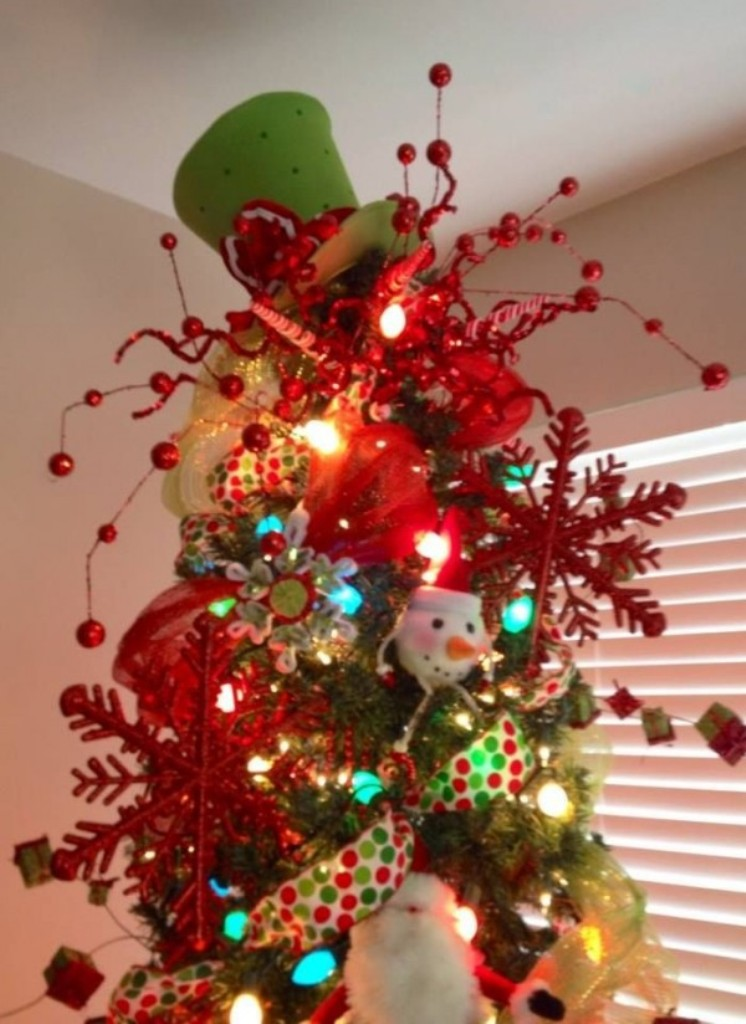 2013 christmas tree topper christmas tree topper for 2013 green hat christmas tree topper-f32720