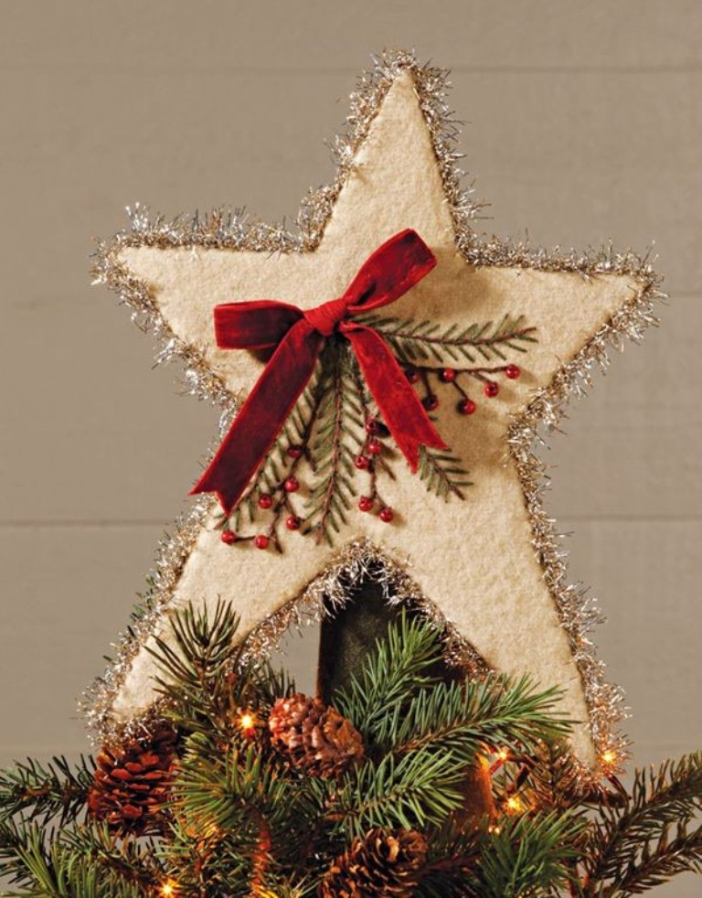 2013 christmas tree topper red bow christmas tree topper for 2013 felt stars christmas tree topper-f90434