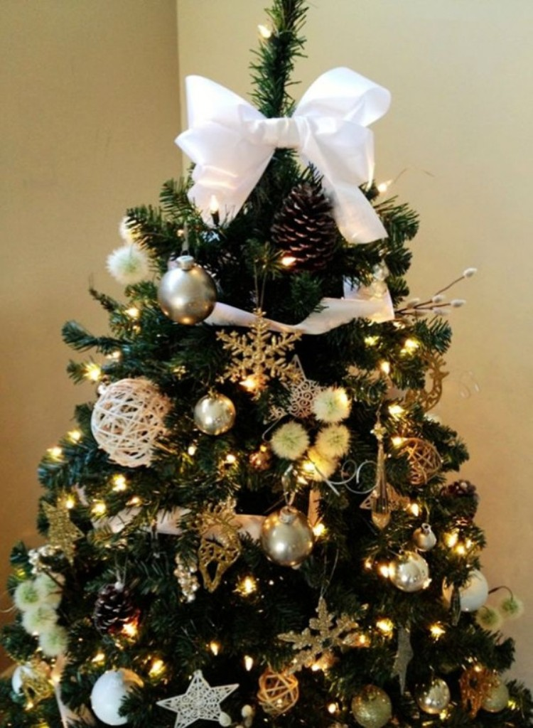 2013 christmas tree topper white bow christmas tree topper ...