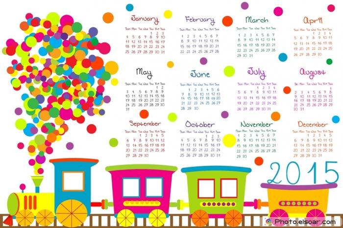 2015-Calendar-for-kids-with-cartoon-train