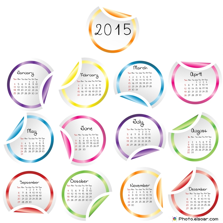 2015-Calendar-with-round-glossy-stickers