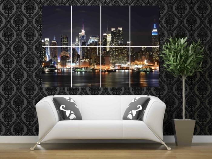 CH05-New-York-City-Brooklyn-Bridge-Statue-of-Liberty-Night-view46x-32-inches-116-x-81